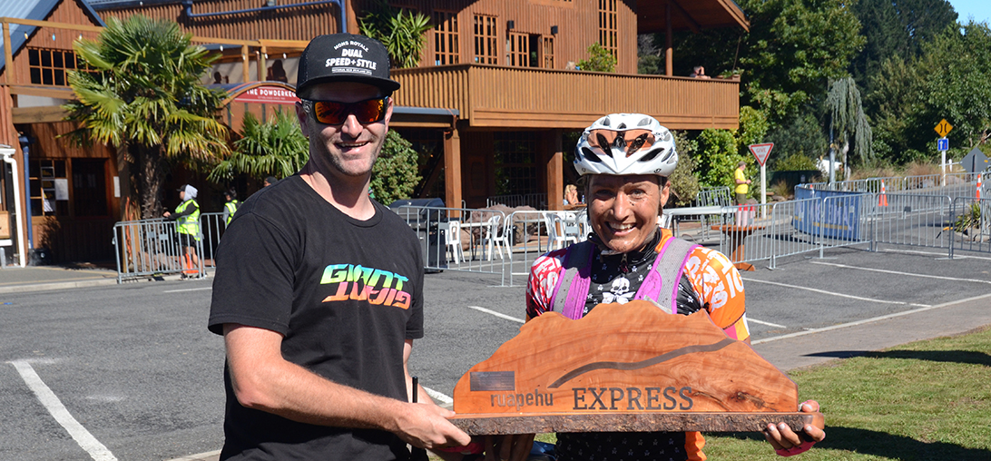 RE17 58km MTB female winner with trophy and Tim Farmer_1092x508